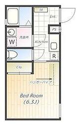 東京メトロ南北線 本駒込駅 徒歩8分の賃貸マンション 4階ワンルームの間取り