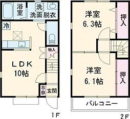 JR東北本線 宇都宮駅 バス21分 台新田神社前下車 徒歩7分の賃貸テラスハウス 1階2LDKの間取り