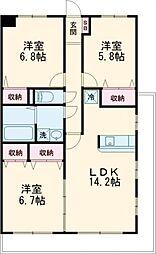JR東北本線 雀宮駅 徒歩15分の賃貸マンション 5階3LDKの間取り