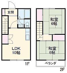 東武伊勢崎線 春日部駅 徒歩15分の賃貸テラスハウス 1階2LDKの間取り
