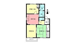 JR東海道本線 小田原駅 徒歩12分の賃貸アパート 2階3DKの間取り