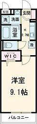 東武伊勢崎線 越谷駅 徒歩8分の賃貸アパート 2階1Kの間取り