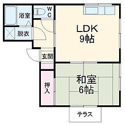 ポート早川 1階1DKの間取り