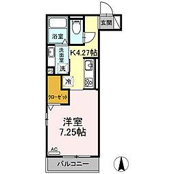 名鉄名古屋本線 加納駅 徒歩11分の賃貸アパート 2階1Kの間取り