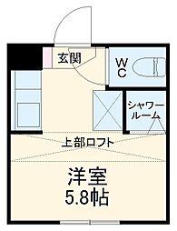 近鉄湯の山線 中川原駅 徒歩4分の賃貸アパート 1階ワンルームの間取り