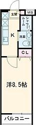 東急田園都市線 用賀駅 徒歩8分の賃貸マンション 2階1Kの間取り