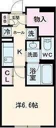 小田急小田原線 経堂駅 徒歩10分の賃貸マンション 1階1Kの間取り