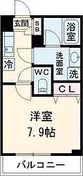 東急田園都市線 桜新町駅 徒歩13分の賃貸マンション 2階1Kの間取り