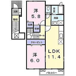 ハーモニーコートA 2階2LDKの間取り