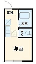 JR京浜東北・根岸線 山手駅 徒歩7分の賃貸アパート 1階ワンルームの間取り