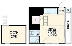 京急本線 弘明寺駅 徒歩13分の賃貸アパート 2階ワンルームの間取り