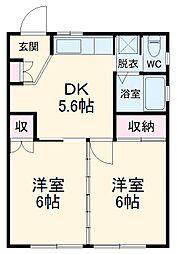 コスメハウス 1階2DKの間取り