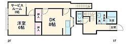 飯田国分寺台アパート 1階1SDKの間取り