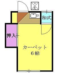 石黒荘 2階ワンルームの間取り