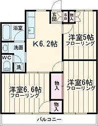 JR中央線 国立駅 徒歩18分の賃貸マンション 3階3DKの間取り