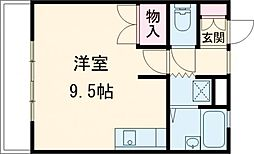 西武国分寺線 恋ヶ窪駅 徒歩6分の賃貸アパート 1階1Kの間取り