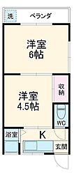 高島台アパート 1階2Kの間取り