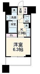 東急東横線 武蔵小杉駅 徒歩3分の賃貸マンション 8階1Kの間取り