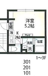 京急本線 六郷土手駅 徒歩7分の賃貸マンション 1階1Kの間取り
