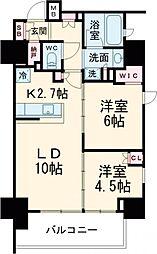 JR京浜東北・根岸線 大井町駅 徒歩3分の賃貸マンション 9階2LDKの間取り