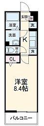 リブリ・リッツハウス藤崎 3階1Kの間取り