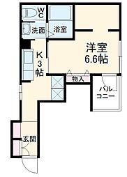 JR総武線 東船橋駅 徒歩5分の賃貸マンション 2階1Kの間取り