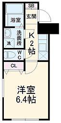 TRYM武蔵小杉 2階1Kの間取り