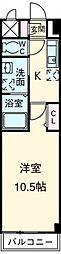 愛知高速東部丘陵線 杁ヶ池公園駅 徒歩21分の賃貸マンション 2階1Kの間取り