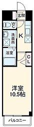 愛知高速東部丘陵線 杁ヶ池公園駅 徒歩21分の賃貸マンション 3階1Kの間取り