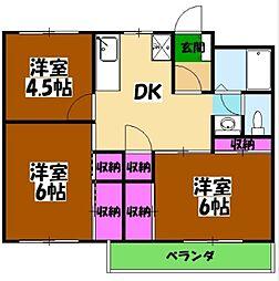 富士見中央ビル 5階3DKの間取り