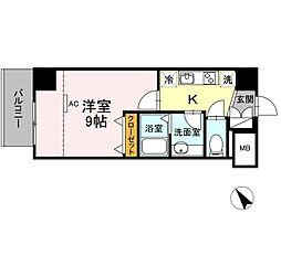 JR東海道本線 静岡駅 徒歩10分の賃貸マンション 8階1Kの間取り