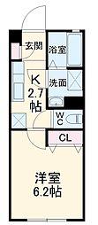 静岡鉄道静岡清水線 桜橋駅 徒歩5分の賃貸アパート 2階1Kの間取り