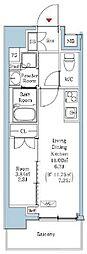 JR山手線 西日暮里駅 徒歩7分の賃貸マンション 10階1DKの間取り