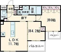 ザ・レジデンス駒込染井 3階2LDKの間取り