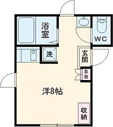 西武新宿線 新井薬師前駅 徒歩3分の賃貸アパート 3階ワンルームの間取り