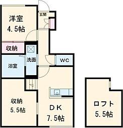 東武宇都宮線 西川田駅 5.6kmの賃貸アパート 1階1SDKの間取り