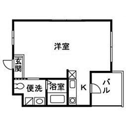 JR東海道本線 小田原駅 徒歩10分の賃貸マンション 1階1Kの間取り