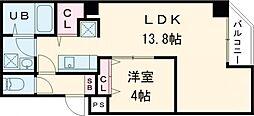 東京メトロ日比谷線 入谷駅 徒歩10分の賃貸マンション 6階1LDKの間取り