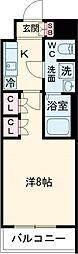京王線 八幡山駅 徒歩9分の賃貸マンション 1階1Kの間取り