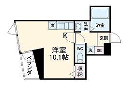 名古屋市営東山線 星ヶ丘駅 徒歩1分の賃貸マンション 5階ワンルームの間取り