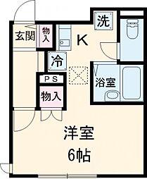 京王線 東府中駅 徒歩6分の賃貸アパート 1階1Kの間取り