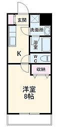 JR東海道本線 磐田駅 徒歩13分の賃貸マンション 1階1Kの間取り