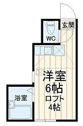 京急本線 南太田駅 徒歩10分の賃貸アパート 2階ワンルームの間取り