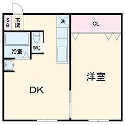 加賀山コーポ3 2階1DKの間取り