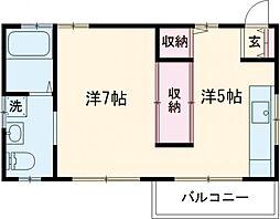 KMコートIII 2階1DKの間取り