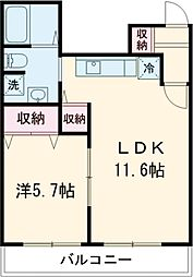 JR南武線 矢川駅 徒歩2分の賃貸マンション 2階1LDKの間取り