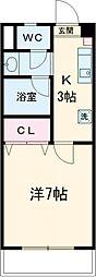丹木田口ビル 3階1Kの間取り