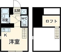 マーベラス東恋ヶ窪 1階ワンルームの間取り