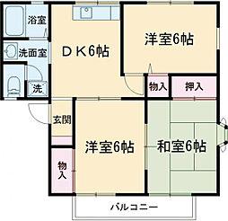 京王線 多磨霊園駅 徒歩8分の賃貸アパート 2階3DKの間取り
