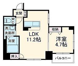 Ciel Kaya 2階1LDKの間取り